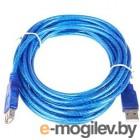 Кабель удлинительный Telecom USB2.0 AM/AF прозрачная, голубая изоляция 5.0m <VUS6956T-5MTBO>