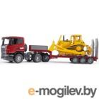 Bruder Scania тягач с прицепомплатформой и гусеничным бульдозером CAT 03-555