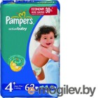 Подгузники. PAMPERS Active Baby Maxi Plus 4+ 9-16 кг 62 шт
