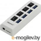 USB 3.0 HUB Orient BC-307 (4 Port, выключатели на каждый порт, цвет белый)