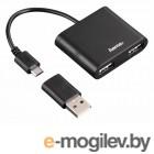 USB 2.0 Hama OTG/microUSB портов:2 черный