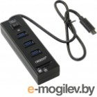 USB 3.0 ORIENT JK-331, Type-C HUB 3 Ports + SD/microSD CardReader, выкл., черный, кабель тип С