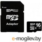 microSDHC 16Gb Silicon Power [SP016GBSTH010V10-SP] Class 10 + SD Adapter