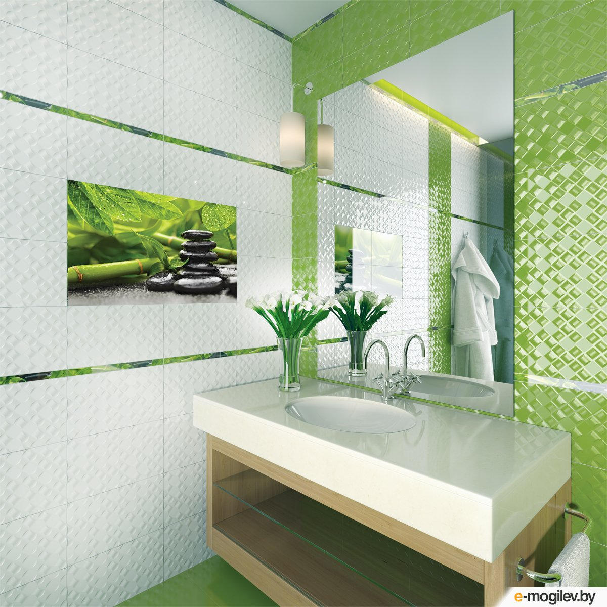 Зеленая ванная комната  № 2278694 бесплатно