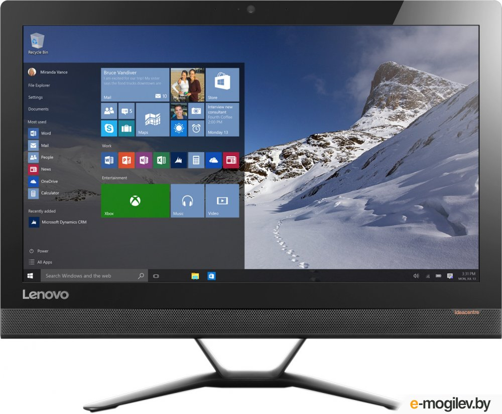 Lenovo IdeaCentre 300-23ISU 23 Full HD P 4405U/4Gb/1Tb 7.2k/DVDRW/Windows 10 Professional/GbitEth/WiFi/BT/клавиатура/мышь/Cam/черный 1920x1080