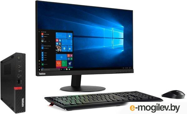 ПК Lenovo ThinkCentre Tiny M720q slim i3 8100T/8Gb/SSD128Gb/Windows 10 Professional 64/WiFi/BT/клавиатура/мышь/черный