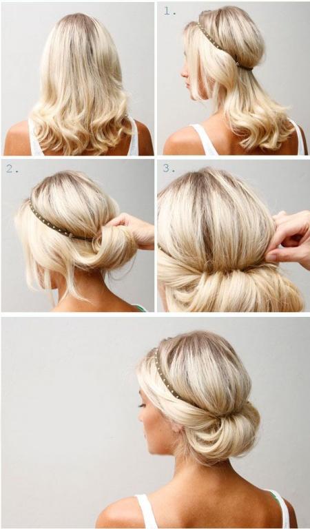 Как сделать причёску с резинкой ободком